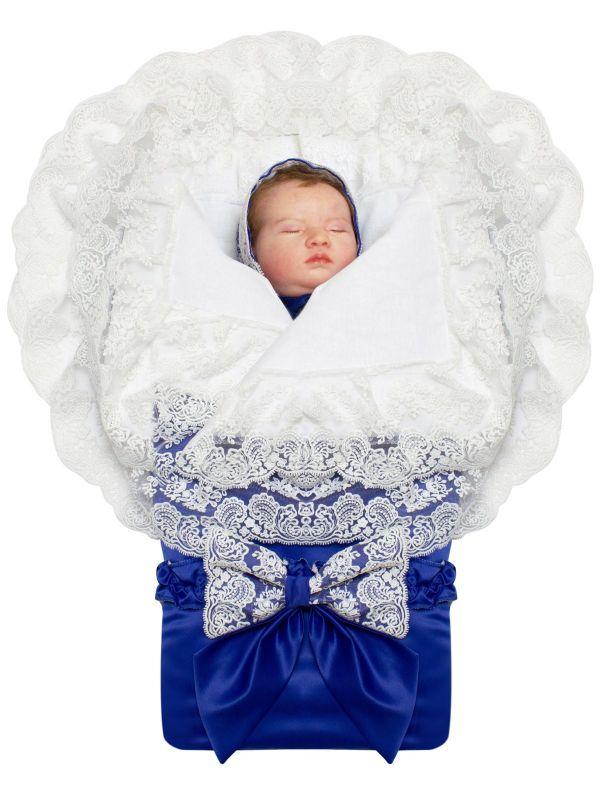 "Летний конверт-одеяло на выписку ""Милан"" синий"