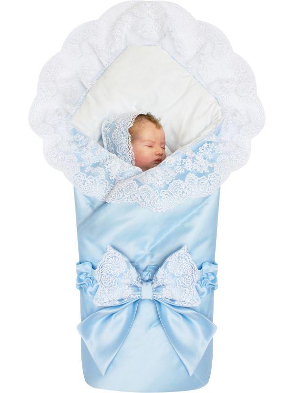 """Летний конверт-одеяло на выписку """"Неаполь"""" голубой"""