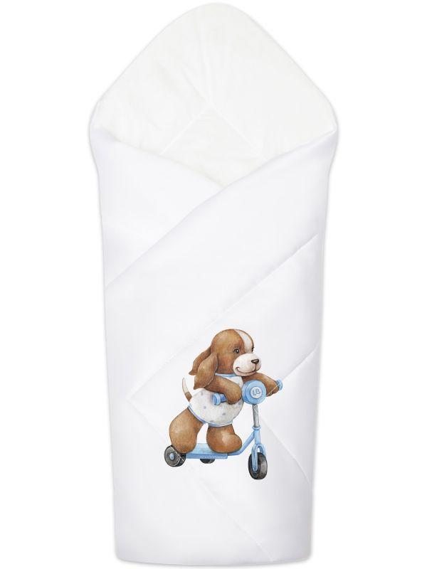 "Летний конверт-одеяло на выписку ""Собачка на самокате"""