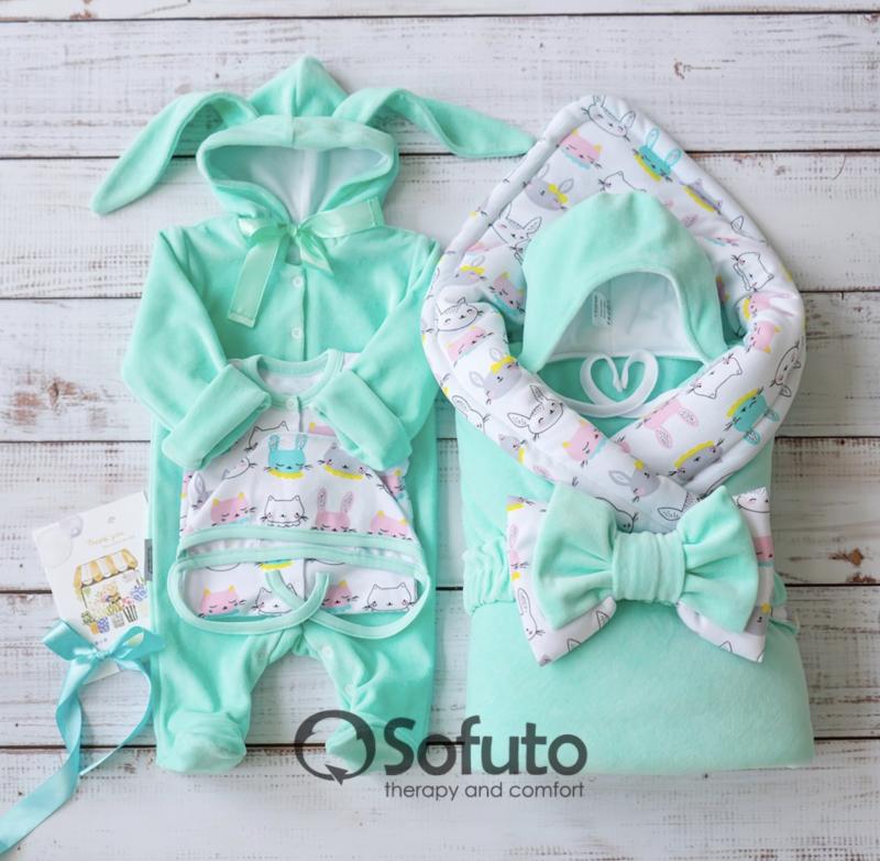 Комплект на выписку демисезонный  baby Bunny mint