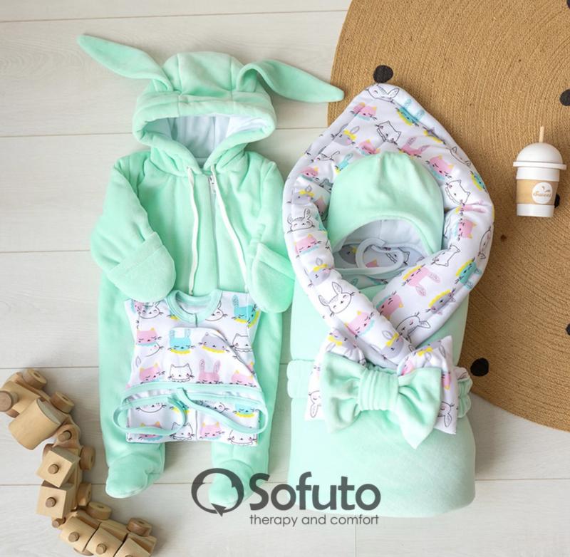 Комплект на выписку холодная зима baby Bunny mint